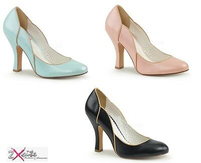 """Pleaser Smitten 04 Pin Up Couture 4"""" High Heel Court Shoes 50's Retro Vintage"""