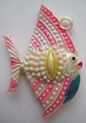 1940's VINTAGE Celluloid Pearly Large ANGEL FISH Charm Cracker Jack Toy Prize