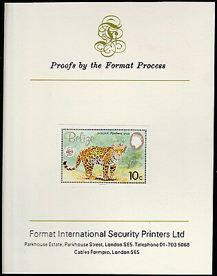 Belize (1304) 1983 WWF - JAGUAR 10c imperf on Format International PROOF  CARD