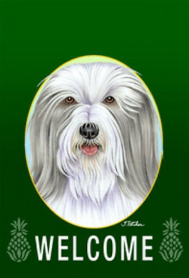 Large Indoor/Outdoor Welcome Flag (Green) - Bearded Collie 74170