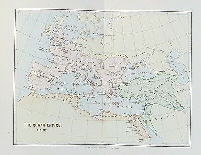 OLD ANTIQUE MAP ROMAN EMPIRE A.D. 117 c1880's BY MACKENZIE PRINTED COLOUR