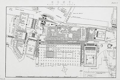 OLD ANTIQUE MAP ROME FORUM PLAN ITALY c1880's