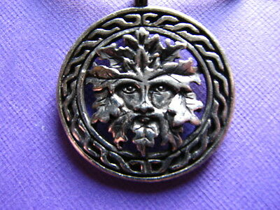 Celtic GREENMAN in Knotwork WREATH God Pewter Pendant Necklace Wicca Pagan