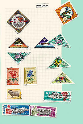 Mongolia 1950/1960's, Fish, Birds, Flowers, Animals, 11 stamps
