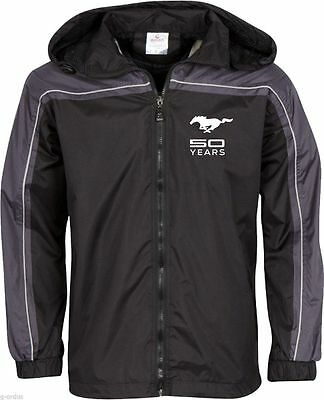 New Mens Ford Mustang 50Th Anniversary Black Grey Size Large Windbreaker Jacket!
