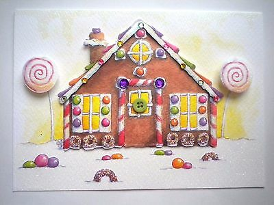 """Paper Magic ~ LUXURY 3D GLITTERY """"GINGERBREAD HOUSE"""" CHRISTMAS GREETING CARD"""