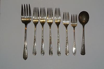"Lot 8 Antique WM Rogers & Son IS Silverplate 7 1/2"" Forks & Spoons - 10.8oz"