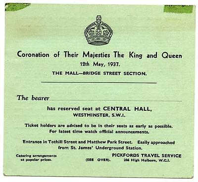 1937 Reserved Ticket to the Coronation of King George VI at The Mall Westminster