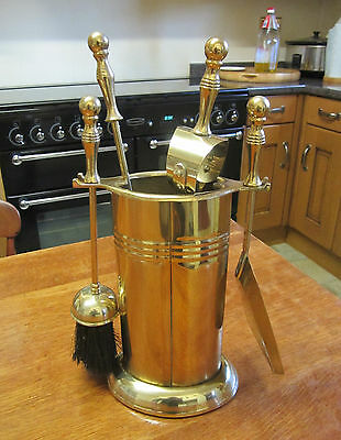 Old Antique Edwardian Style Brass Fireside Companion Set Stand and 4 Tools
