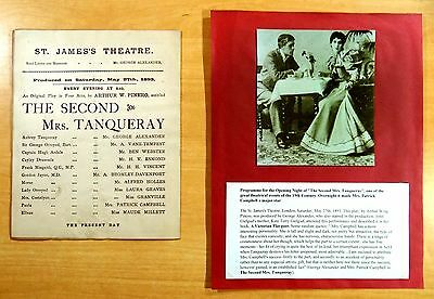 The Second Mrs. Tanqueray Opening Night Program St. James Theatre May 27, 1893