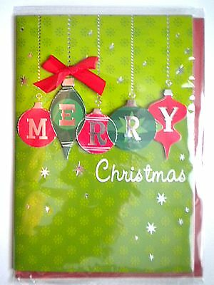 """Luxury Embellished 3D """"merry Christmas"""" Green & Red Baubles Greeting Card"""