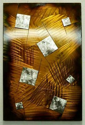 Is Orange Square Metal Wall Art Hand Crafted Sculpture Modern Steel Panel Stainl