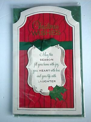 """Luxury Embellished 3D """"christmas Wishes"""" Greeting Card & Green Envelope"""
