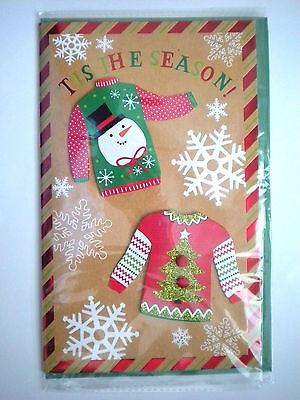 """Luxury Embellished 3D """"ugly Christmas Sweaters"""" Christmas Greeting Card"""