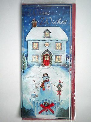 """Luxury Embellished 3D """"warm Wishes"""" Christmas Greeting Card & Red Envelope"""