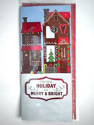"""Luxury Embellished 3D """"merry & Bright"""" Christmas Greeting Card & Red Envelope"""