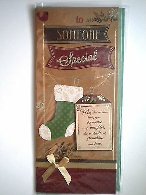 """Luxury Embellished 3D """"to Someone Special"""" Christmas Greeting Card & Envelope"""