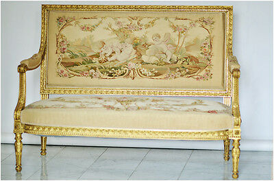 French  Aubusson Upholstered Antique Settee Sofa & 4 Chairs, 19th Century