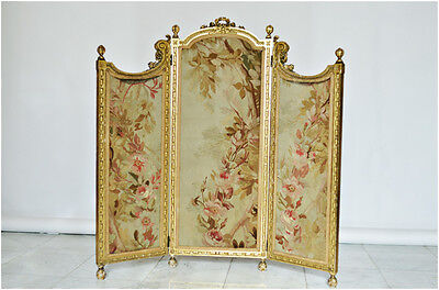 Antique Aubusson 3 panel French Firescreen