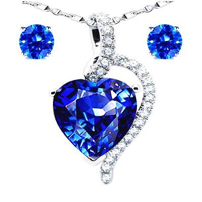 Women's Sterling Silver 4.10Ct Heart Cut Created Blue Sapphire Necklace Pendant