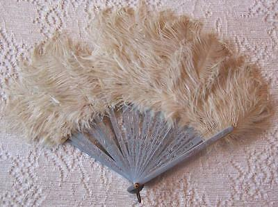 Antique Vtg FOLDING HAND FAN Ostrich Feathers EMBOSSED WOOD STICKS Floral/Doves