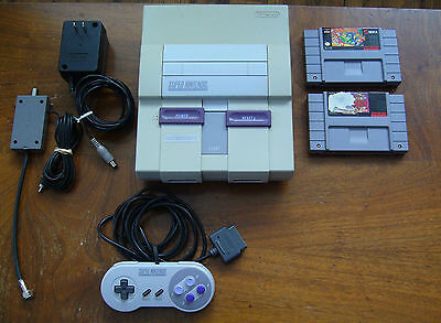 nintendo snes console lot with 2 games 1x controllers very clean no dust LOOK!