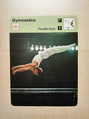 GYMNASTICS PARALLEL BARS Sportscaster Rencontre Fact Card -  Rare