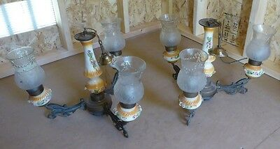 VTG PAIR OF Capodimonte Porcelain 3 Arm Chandeliers Candle Lamps Brass & metal