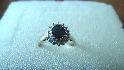9ct gold, sapphire and diamond ring, pre worn, size L