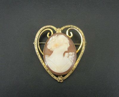 Vintage Heart Shape with Flowers Shell Cameo Gold Fill BROOCH Pin
