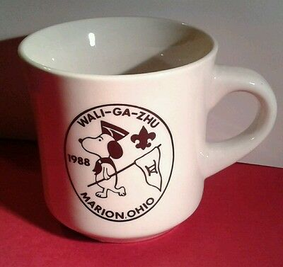 1988 BSA Boy Scout MUG Coffee CUP WALI-GA-ZHO MARION Oh SNOOPY Busy Bee Akron