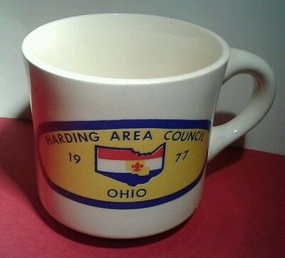 1977 BSA Boy Scout MUG Coffee CUP HARDING AREA COUNCIL Kenton Ohio