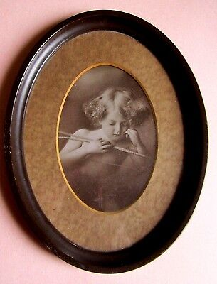 Excellent Antique Victorian Cupid Image in Tin Frame