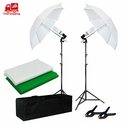 "2x33"" Studio White Soft Umbrella Stand Photography Lighting Kit w/Backdrops&Case"