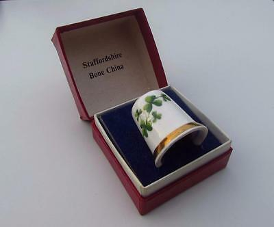 Vintage Staffordshire SANDFORD Bone China Lucky Clover Thimble~Made In England