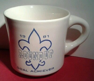BSA Boy Scout MUG Coffee CUP ROUND UP 1981 Goal ACHIEVER