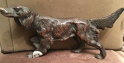 RARE ANTIQUE BRONZE GORDON SETTER, Gundog Hunting Fig,