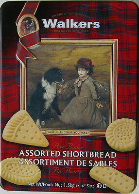 Border Collie Shown On The Top Of A Large Walkers Cookie Tin