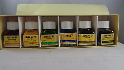 Vintage Pelikan Drawing Ink Set 523/6  Each Bottle is 1/3 Oz  NOS NEW KON I NOOR