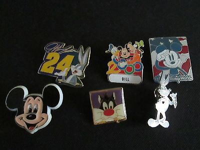Vintage cartoon character pins Bugs bunny, sylvester, mickey, goofey too