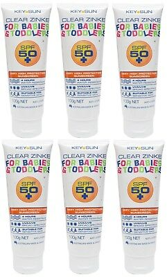 3 x KEY SUN 100g CLEAR ZINKE SUNSCREEN FOR BABIES & TODDLERS SPF 50+ Brand New