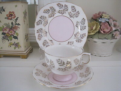 Beautiful Vintage Colclough Pink And Gilt Fine Bone China Trio