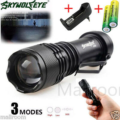 CREE Q5 3Modi ZOOMABLE LED Flashlight 5000LM Taschenlampe Torch 2X 14500 EU Lad