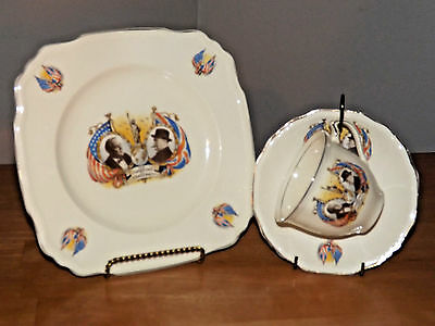 Vintage Alfred Meakin Churchill & Roosevelt Democracy Plate & Cup / Saucer