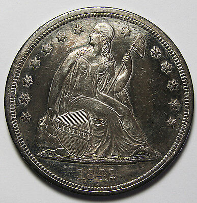 1842 Seated Liberty Silver Dollar $1 Coin Lot# A 2052