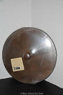 Longaberger Scalloped Waste Woodcraft Lid in Deep Brown With Knob #5038332 New