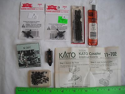 Lot of Kato 11-702 Coupler, 2 Caboose Industries 206S, Rails, Snow Plow, N Scale