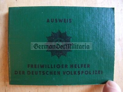 pc257) East German Helper of the Volkspolizei VP Police ID Book GDR DDR Cold War