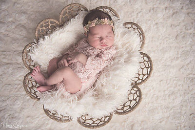 Newborn Baby Girl STRETCH  Peach Long Sleeved Romper Photography Prop low back