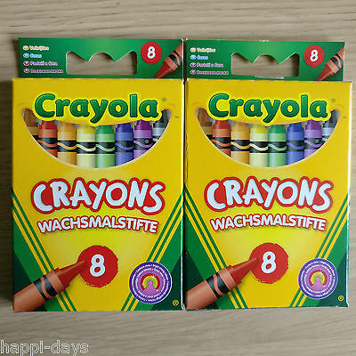 2x NEW PACKS - 8 CRAYOLA COLOUR CRAYONS - Childrens Art Colouring - 2 PACKS